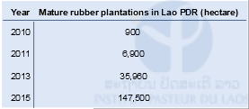 Table 1: Mature rubber plantations in Lao PDR (hectare)